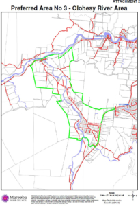 Green outline shows preferred area No 3, which covers the whole of Koah past the Koah service station down to the Barron river