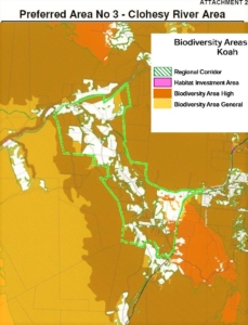 TRC 2013 draft plan Biodiversity Areas Overlay Map Koah Green outline shows preferred area No 3